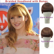 Hot sale fashion Braided bangs  Headband with fringe Bangs Hairpieces Extensions Synthetic Styling Tools Black Light Dark brown