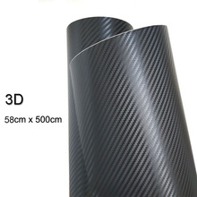58cmx500cm 3D Carbon Fiber Vinyl Car Wrap Sheet Roll Film Car Stickers And Decals Motorcycle Car styling Accessories