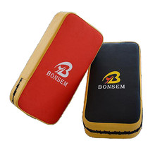 BONSEM Brand Boxing Pads Thai Kick Boxing Strike Curve Pad PU leather Black Muay Arm Punch MMA For Boxing Taekwondo Foot Target