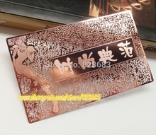 High quality customized stainless steel rose golden card and gold business card for VIP CEO Wedding blank metal tags(China)