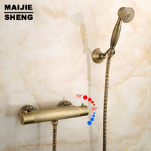 hand shower 1.5 meter shower hose brass shower holder Antique brass Thermostatic shower mixer kit wall thermostatic faucet with