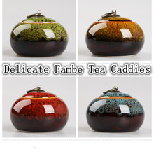 5 styles mini tea pot Fambe porcelain tea storage jar cookie jar tea caddy container ceramic jar kitchen canister set with lid