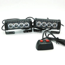 2*  4 LED aluminum alloy led flash lamp slitless stick lamp lamp high power roof lights car truck led strobe light