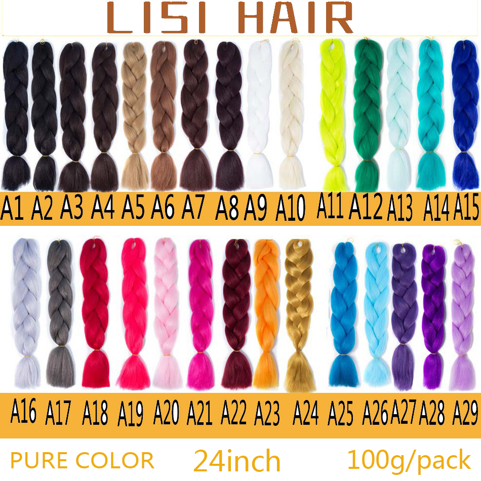 LISI HAIR Ombre Kanekalon Jumbo Synthetic Braiding Hair Crochet Blonde Pink Blue Grey Hair Extensions Jumbo Braids Hairstyles-+