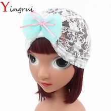 Cute Kids Bowknot Lace Bandanas Muslim Girls Hijabs Children Embroider Floral Head Wrap Turban(China)
