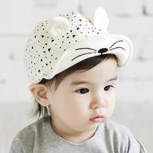 1 Piece Cotton Cat Infant Sun Summer Outdoor Girls Unisex Boys Baby Hats Baseball Cap Cute 2 colors Toddlers(China)
