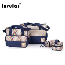 Insular 5PCS/Set High Quality Nylon baby diaper bags Multi-function large capacity Mummy bag aslant baby backpack diaper bags