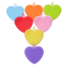 Multifunction Silicone Dish Bowl Cleaning Brush Silicone Heart Scouring Pad silicone dish sponge Kitchen Pot Cleaner Washing Too