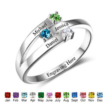 925 Sterling Silver Rings Birthstone Rings For Family Personalized Jewelry Custom Rings Trendy Charms Jewelry Gift(RI102505)