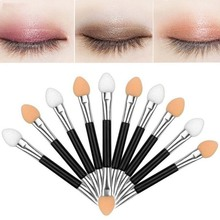 Hot 10pcs/pack Professional double head sponge Eye shadow stick,sponge stick for Women Beauty make-up tools Free shipping(China)