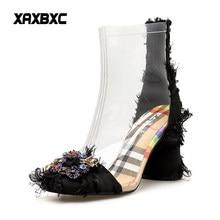0ef051370 XAXBXC 2018 Outono Nova Primavera de Cristal Strass Sapatos de Salto Alto  Botas Curtas Mulheres Transparentes Botas Mujer