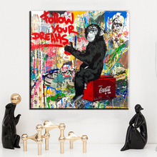 ZZ1486 Grafitti street art Banky and monkey canvas painting prints poster