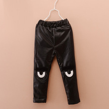 Kids Pants Children Clothing PU Leather Thick Velvet Girls Leggings Autumn Winter Eyes Baby Warm Trousers 5pcs/lot