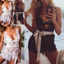 Buy 2019 Hot Sexy Lace Sleepwear Lingerie Erotic Black White Full Lace Costume Sleepwear Dress Hollow Deep V Underwear Women