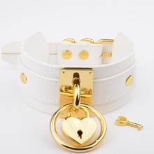 Handmade White Leather Choker Oversized Wide Layered Slave Collar Heart Locket Necklace for Women Girls Silver Gold Choker(China)