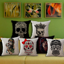 Hot Cotton Linen Skull Throw Pillow Case Cover Bed Room Back Seat Waist Cushion Home Bones Pillow Covers Pillow for Halloween
