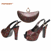 2017 Black Color Shoes and Bag Set African Sets Italian Ladies Shoe and Bag Set Decorated with Rhinestone African Party Shoes(China)