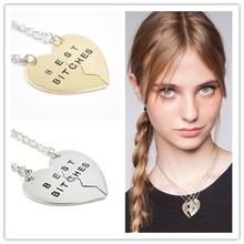 Buy 2pcs 3pcs Broken Heart Best Bitches Pendant Necklace Silver Gold Chain Statement Necklace Best Friend Forever Necklace Jewelry for $1.20 in AliExpress store