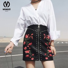 Buy Women PU leather flower embroidery zipper skirts rivet design faldas European style fashion streetwear black mini skirts for $15.29 in AliExpress store