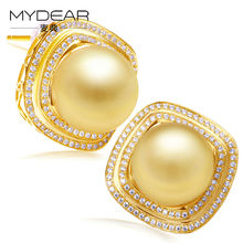 MYDEAR Fine Pearl Jewelry Exquisite Gold Stud Earrings Elegant Natural 10-11mm Golden Southsea Pearls Earrings Jewelry For Women