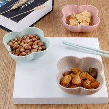 2017 Hot Sell Wheat Fiber Tableware Plum Blossom Snack Cold Dish Dish Antibacterial Dessert Dressing Dish Hotel Restaurant Home