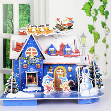 Toys Jigsaw 3D Hard Paper Puzzle House Christmas Building Toys Children's Educational Chalets Toys For Birthday Gift DW889740(China)