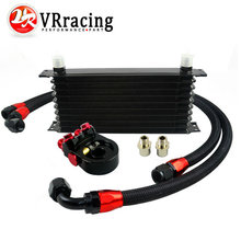 VR - Universal 10 ROWS Trust type OIL COOLER + AN10 Oil Sandwich Plate Adapter with Thermostat + 2PCS NYLON BRAIDED HOSE LINE(China)