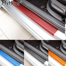 For Mitsubishi ASX Lancer RVR 2011 2012 2013 2014 2015 car door sill scuff carbon fiber vinyl sticker Stickers 4pcs car styling(China)