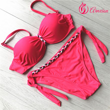 Real Pictures Sweet Pink Weave Braid Women Low Waisted Peach Bikini Girls sexy Tankini Size S M L XXL XXXL Swimwear Swimsuit