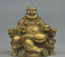 Chinese Brass Bring Wealth Happy Laughing Maitreya Buddha On Dragon Chair Statue