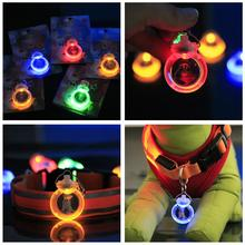 Pendant For Dog Collar LED Light Night Glowing Circular Leads Puppy Cat Necklace Safety Flashing Led Pendant Goods For cachorro(China)
