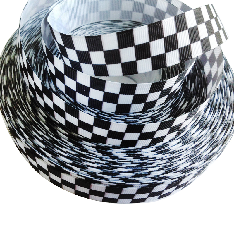 50yard22mm Black White Checkered Flag Grosgrain Printed Ribbon