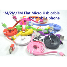 1M/2M/3M Flat Micro Usb Cable 2.0 Data Sync Cable For Samsung Galaxy For HTC For Sony For Blackberry Cell Phones