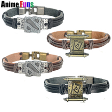 4 types Game Dota 2 Logo Leather Bracelet Transfer Roll Sleeve Punk PU Bangle for women man Wristband Charm Jewelry drop-ship