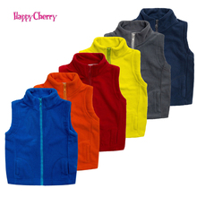 Autumn&Winter Kids Vest Waistcoats Fleece Boys Girls Vests Candy-Colors Children's Waistcoats Kids Sleeveless Jacket Outerwear(China)