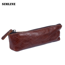 Vintage Handmade Genuine Leather Cowhide Men Women Kid Long Zipper Pen Pencil Bag Bags Holder Holders Case Cases School Supplies