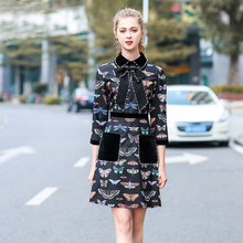 Newest Spring Pretty Women Print Beading Bow Dress 2018 High Quality Fashion 3/4 Sleeve Above Knee Mini Slim Female Cute Dress(China)