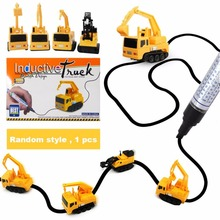 Mini Inductive Excavator, 1 piece Train Toy Running Along the Line Drawn by Magic Pen-Good, Great gift for kids