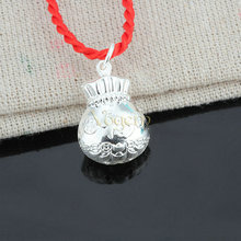"VOGEM Purse Necklace Pendant For Men Women 24 K Plating Gold 925 Sterling Silver The Character "" Fortune "" Lucky Red Rope Chain(China)"