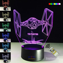 Star Wars tie fighter 3 d seven color gradient small night lights Remote control touch LED children's creative gifts - DAYSUN ELECTRONIC CO., LIMITED store