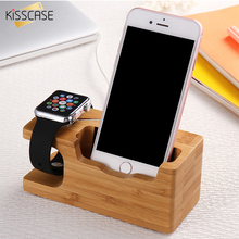 KISSCASE Wooden Charging Dock Desktop Bracket Cradle For iPhone 7 Plus 6 6s Plus 5 5s SE 4s Phone Holder Stand For Apple iwatch