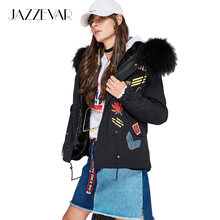 JAZZEVAR New high Fashion street Winter Woman Large raccoon Fur Collar parka Hooded Short Coat Outwear Appliques Military Jacket(China)