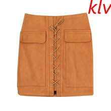 Klv Venta caliente nueva moda mujeres falda alta delgada cintura cadera sólido  lápiz Faldas vintage mini 0e7da09d691d