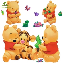 Cartoon Animals Pooh DIY vinyl wall stickers for kids rooms boys girls sofa home decor child sticker home decoration wall decals(China)
