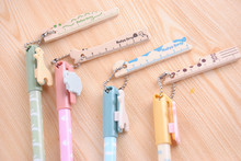 1 PCS Novelty Stationery Cartoon Small Animal Gel Ink Pen with Wooden Mini Ruler(China)
