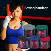 2PCS Sports Solid Color Boxing Gloves Strap Sanda Muay Thai Fighting Boxing Bandage Protecting Wrist Training Equipment(China)