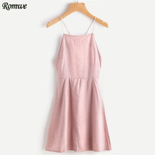 ROMWE Crisscross Lace Up Open Back Cami Dress Short Dresses For Party Elegant Pink Spaghetti Strap A Line Dress