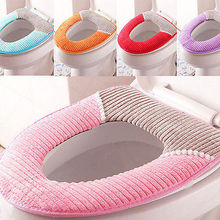 Comfortable Toilet Seat Soft Cloth Washable Lid Top Cover Pad Bathroom Warmer Winter Toilet Seat Cover(China)