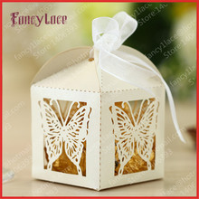 Hot Sale Elegant Hollow Out Paper Butterfly Cake Favor Boxes Candy Box, Wedding Decorations Gift Boxes, Free Shipping 25PCS