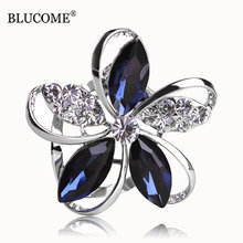 Blucome Gorgeous Blue Crystal Flower Brooches For Women Kids Hats Scarf Buckles Zircon Jewelry Party Corsages Suit Pin Clips